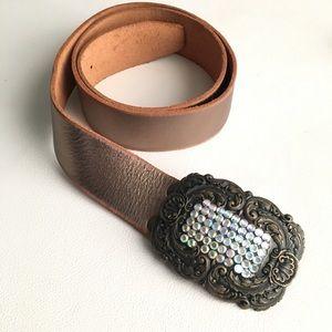 Fossil jeweled bling metallic leather boho belt